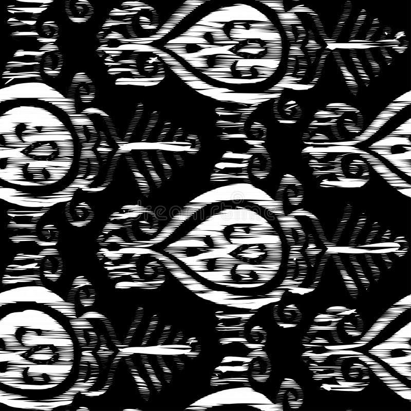 Картина ikat вектора безшовная черно-белая иллюстрация вектора