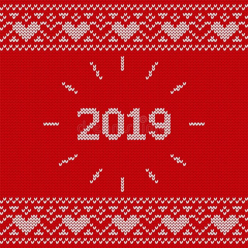 Картина Knit безшовная Связанная текстура 2019 рождества Вектор il иллюстрация вектора