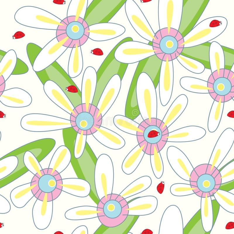 картина ladybird цветка eps безшовная иллюстрация штока