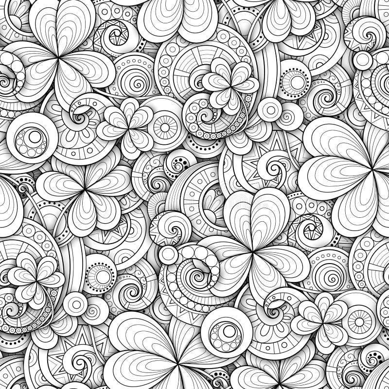 Картина Monochrome дня ` s St. Patrick Doodle безшовная бесплатная иллюстрация