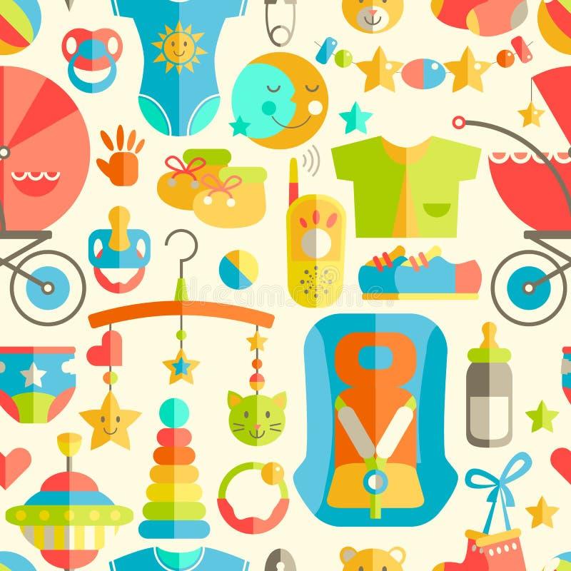 Картина Newborn младенца милая плоская безшовная Забота младенца, подавая, c иллюстрация вектора