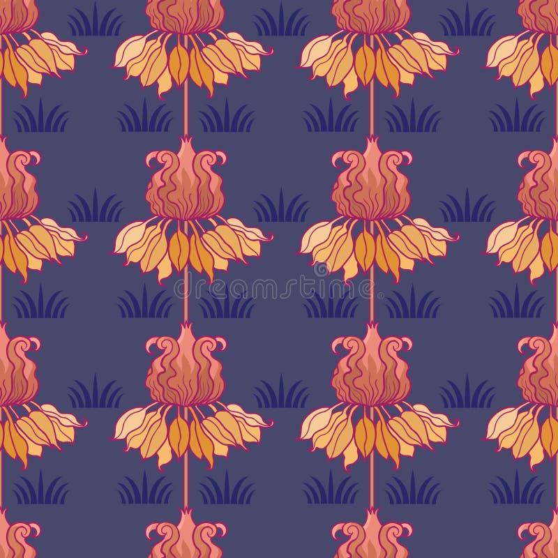Картина nouveau искусства с цветками бесплатная иллюстрация