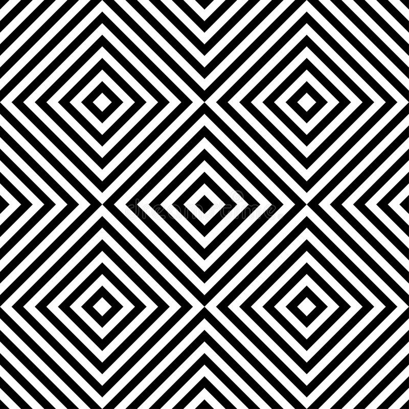 Картина op искусства абстрактного вектора безшовная с косоугольником Monochrome графический черно-белый орнамент Striped обман зр иллюстрация вектора