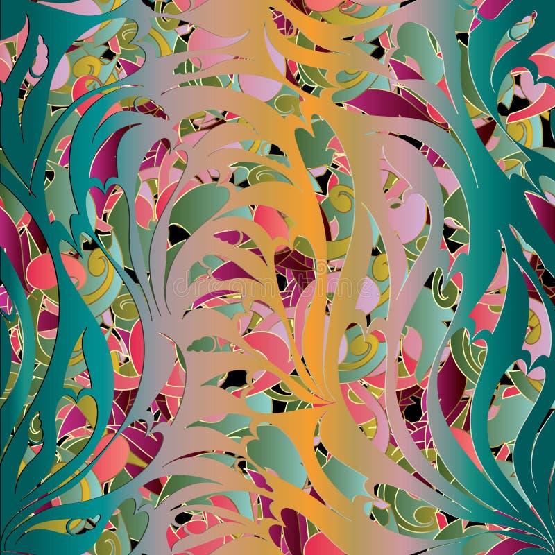 картина paisley безшовная богато украшенный предпосылки флористическое Красочное Wal бесплатная иллюстрация