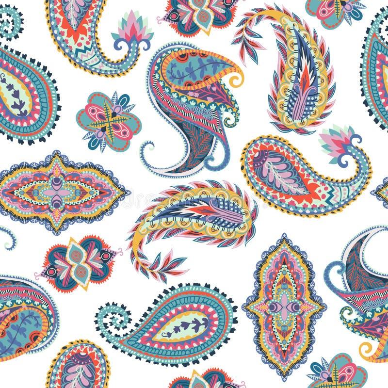 картина paisley безшовная Восточный дизайн для ткани, печатей, упаковочной бумаги, карточки, приглашения, обоев иллюстрация штока