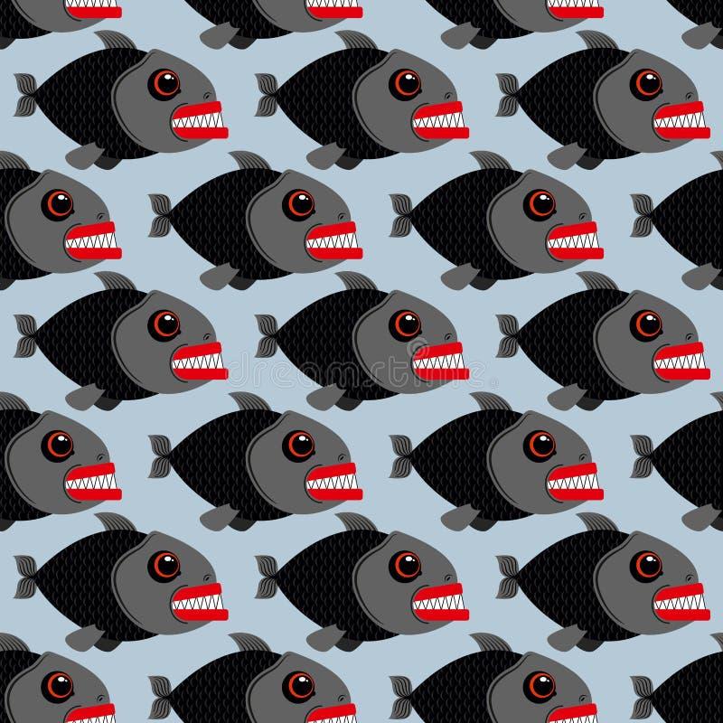 Картина Piranha безшовная Много кровожадных морских хищников Мамы иллюстрация штока