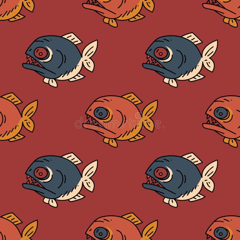 Картина Piranha безшовная бесплатная иллюстрация