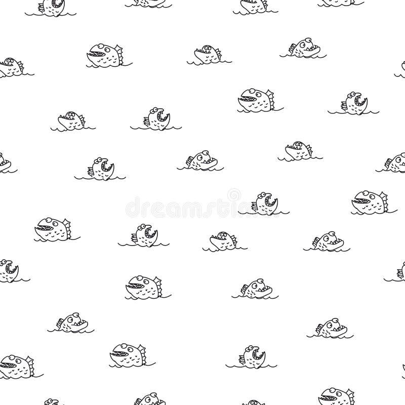 Картина Piranha безшовная иллюстрация штока