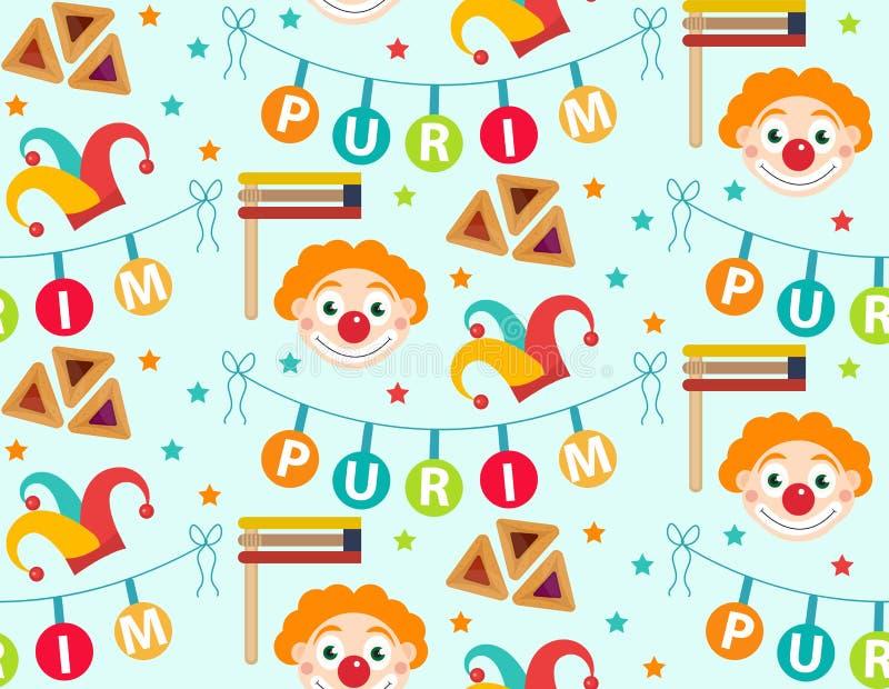 Картина Purim безшовная с элементами масленицы Счастливый еврейский фестиваль, бесконечная предпосылка, текстура, обои вектор иллюстрация вектора