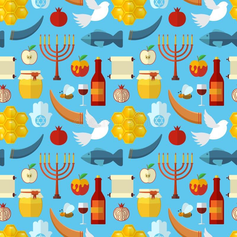 Картина Rosh Hashanah, Shana Tova или еврейского Нового Года безшовная, с медом, яблоком, рыбами, пчелой, бутылкой, torah и други иллюстрация штока