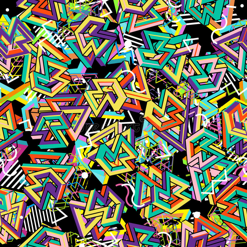 Картина 80s вектора Геометрическая безшовная абстрактная предпосылка Ретро 1980s стиля Мемфиса бесплатная иллюстрация