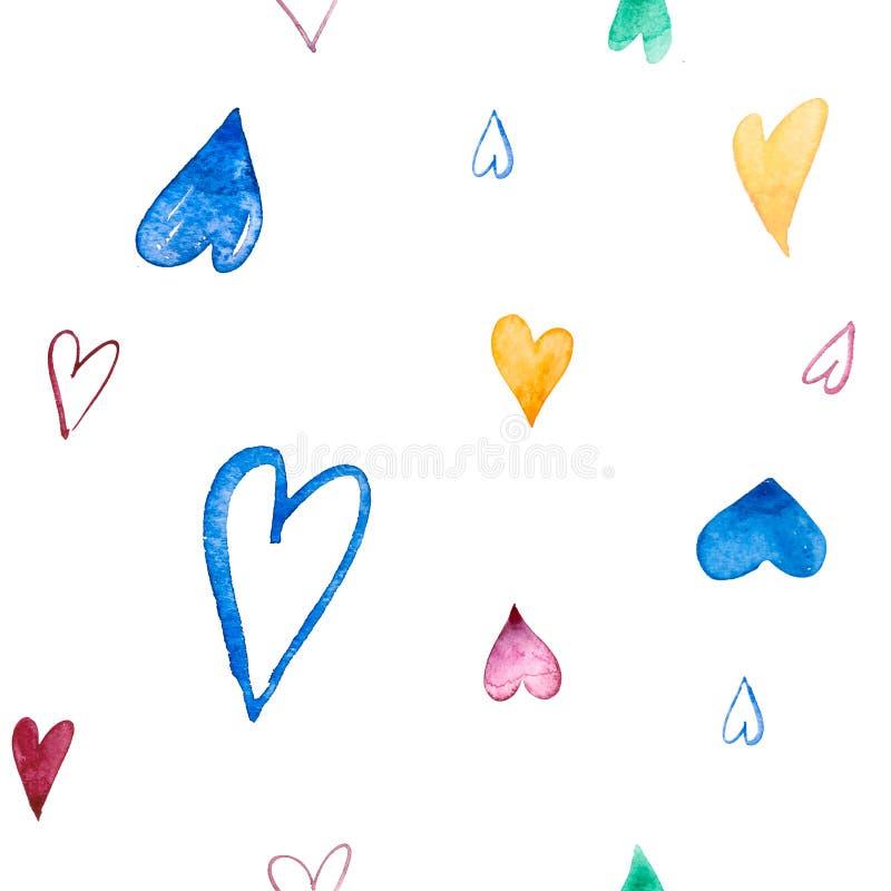 Картина Samless с рукой покрасила сердца акварели на белой предпосылке Улучшите для романтичных случаев как иллюстрация вектора