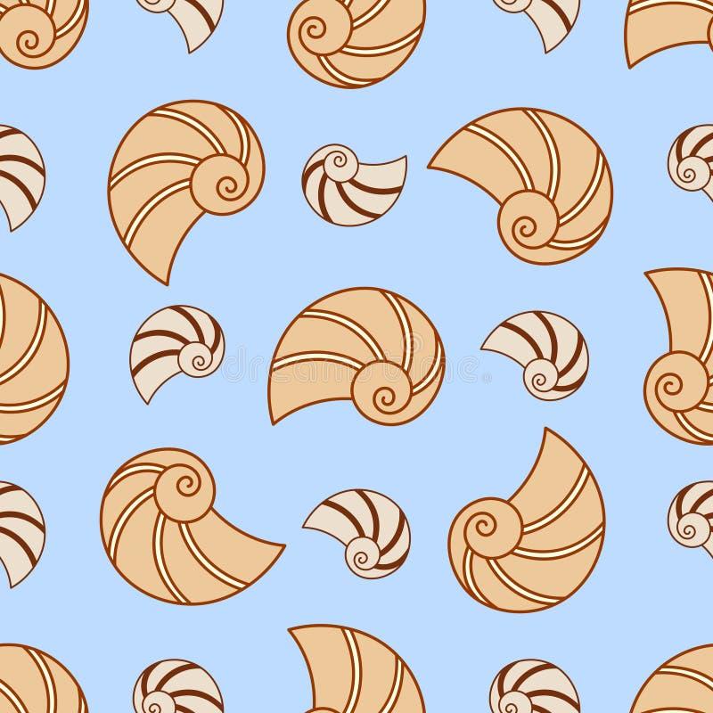 Картина Seashell вектора безшовная Текстура природы моря бесплатная иллюстрация