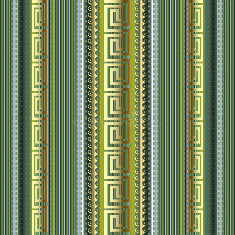 Картина Striped греческого вектора 3d безшовная Предпосылка красочной пунктирной линии орнаментальная Текстурированный фон границ иллюстрация вектора
