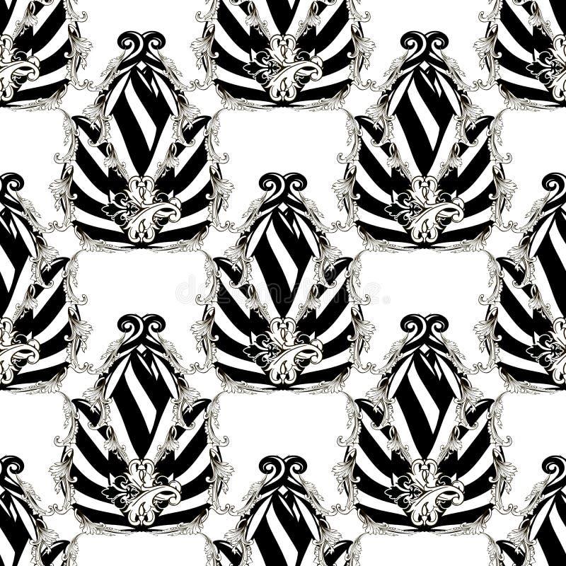 Картина Striped черно-белого абстрактного флористического вектора безшовная Цветки стиля барокко, листья Орнаментальная современн иллюстрация вектора