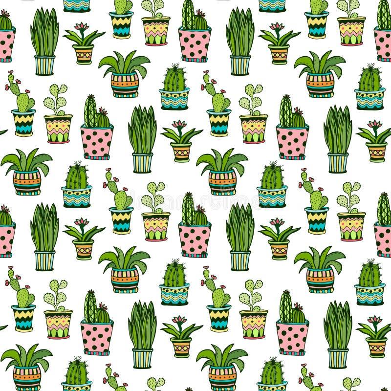 Картина Succulent и кактуса безшовная Красочные цветки doodle в баках Предпосылка вектора бесплатная иллюстрация