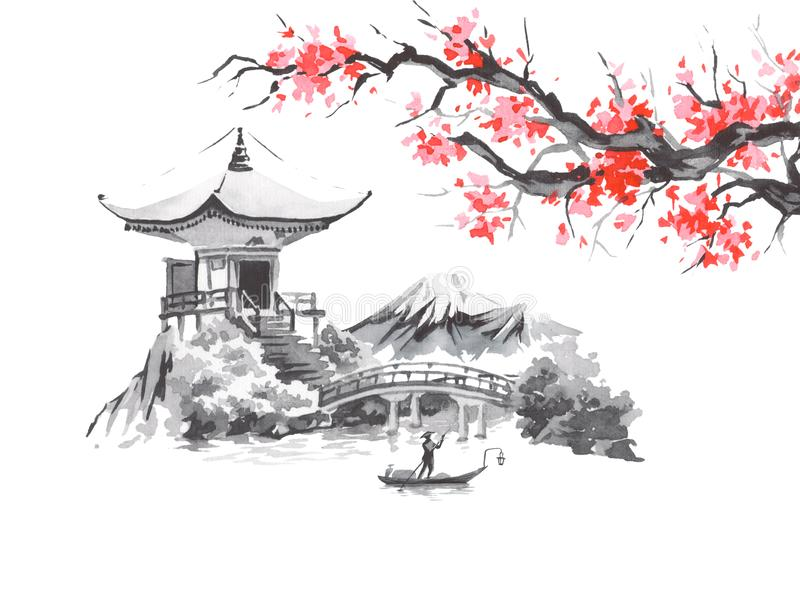 Картина sumi-e Японии традиционная Гора Фудзи, Сакура, заход солнца Солнце Японии Иллюстрация индийских чернил Японское изображен бесплатная иллюстрация