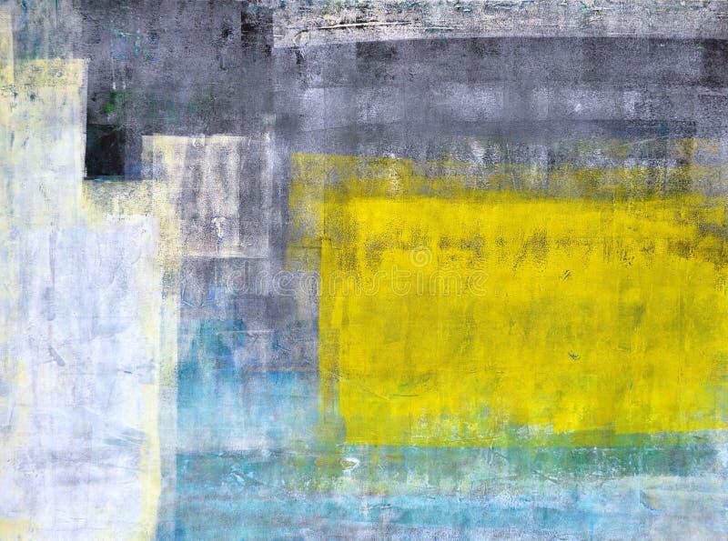 Картина Teal, серых и желтых абстрактного искусства стоковое изображение rf