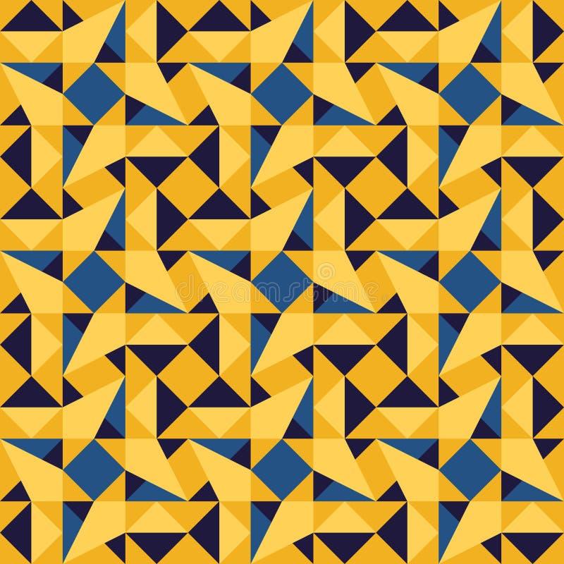 Картина tiling квадрата косоугольника треугольника вектора безшовная голубая желтая геометрическая бесплатная иллюстрация