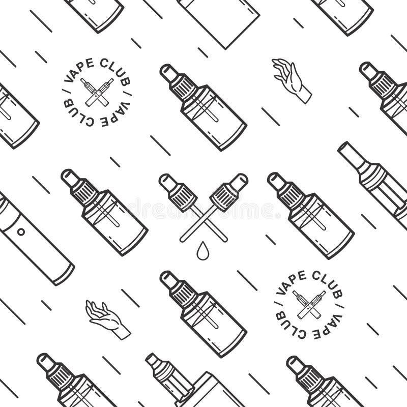Картина Vape безшовная Предпосылка контура с e-сигаретами бесплатная иллюстрация