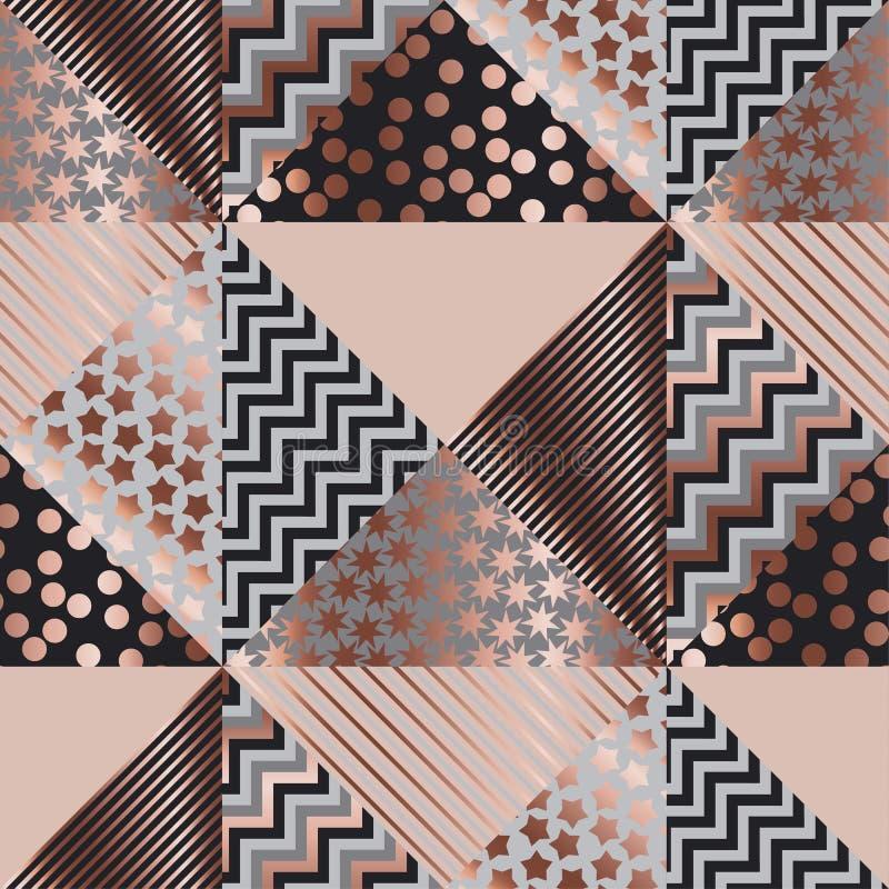 Картина xmas розового золота роскоши геометрическая безшовная иллюстрация штока