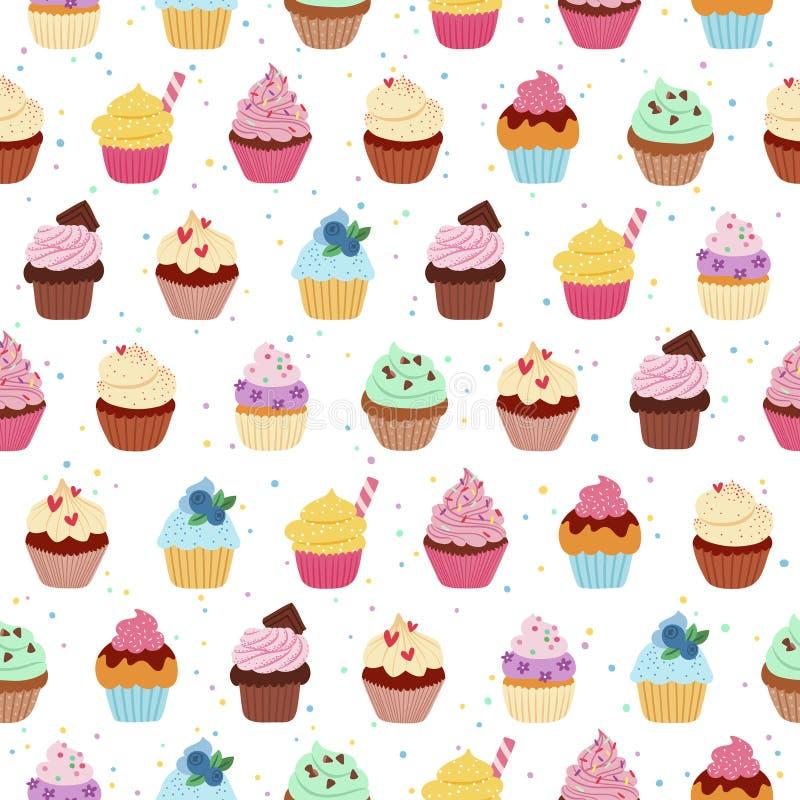 Картина Yummy пирожных безшовная иллюстрация вектора