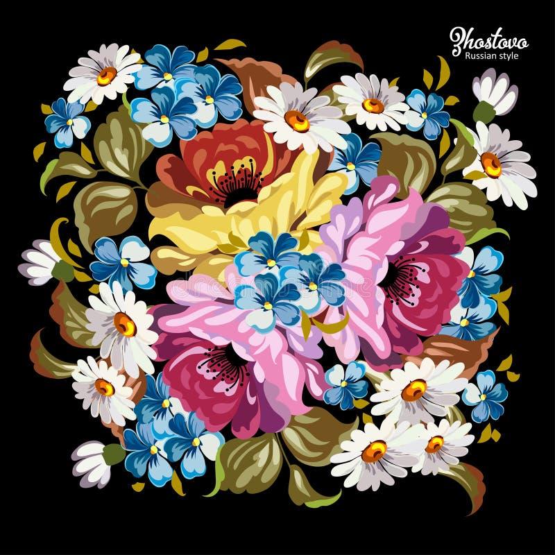 Картина Zhostovo русского, русское украшение стиля и элемент дизайна иллюстрация штока