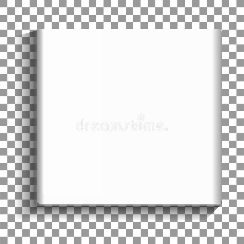 Картинная рамка белого квадрата пустая на прозрачной предпосылке Пустой плакат модель-макета картинной рамки изолированный на ней иллюстрация штока