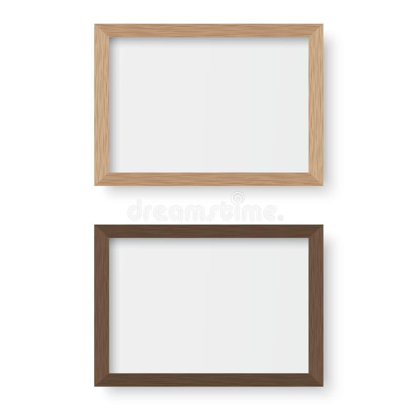 Картинная рамка вектора деревянная иллюстрация штока