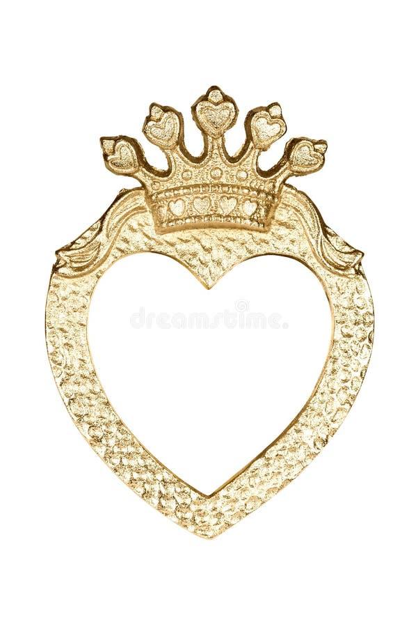 Картинная рамка сердца золота стоковые изображения rf