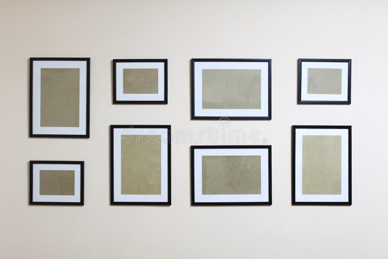 Картинные рамки установили на стену стоковая фотография rf