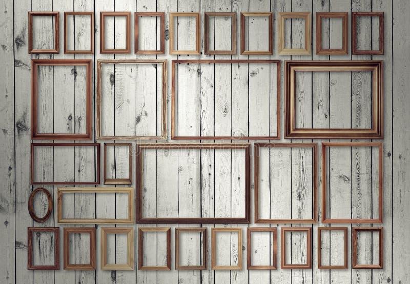 Рамки на стене стоковое изображение rf