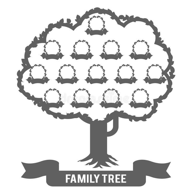 Картинные рамки фото родителя бабушки деда матери отца дочери сына фамильного дерев дерева родословия силуэта конструируют иллюстрация штока
