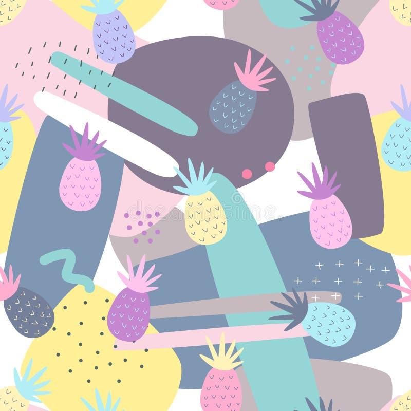 Картины ананаса безшовные на красочной предпосылке иллюстрация вектора
