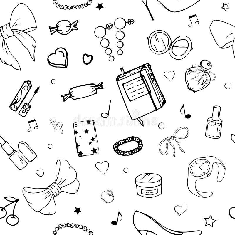 Картины вектора безшовные с веществом девушек Иллюстрация моды с одеждой, ювелирными изделиями, косметиками, подарками и романс ж иллюстрация вектора