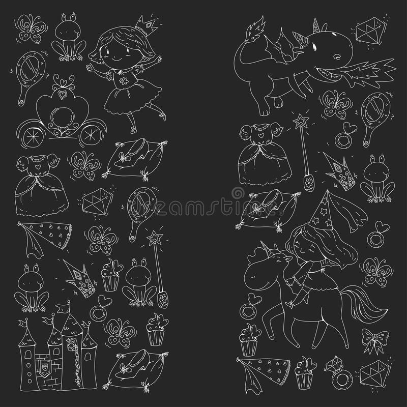 Картины вектора принцессы Милая маленькая принцесса с единорогом и драконом Рокируйте для маленькой девочки, платья, волшебной па иллюстрация штока
