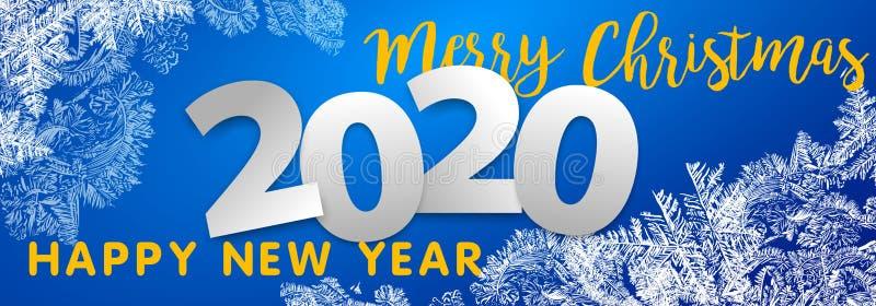 Картины 2020 вектора сделанные предпосылкой зимы Frost голубой для дизайнов рождества Ярлык Xmas типографский для приветствия пра стоковые изображения rf