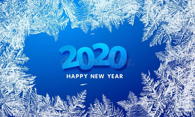 Картины 2020 вектора сделанные предпосылкой зимы Frost голубой для дизайнов рождества Ярлык Xmas типографский для приветствия пра стоковые фото