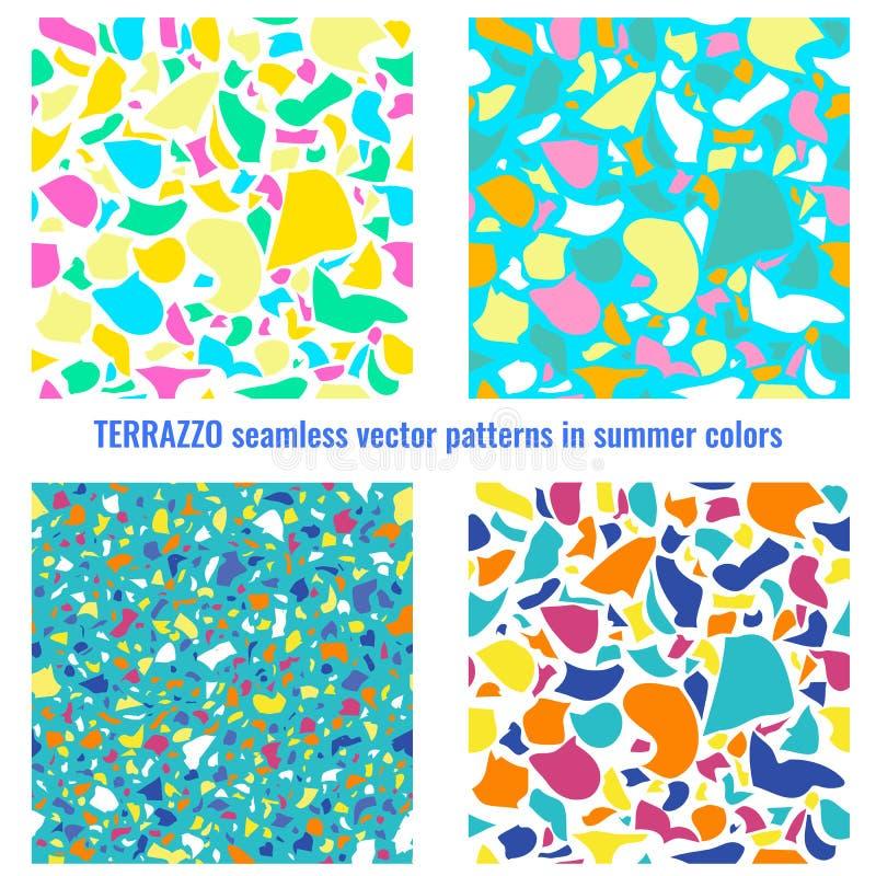 Картины вектора Terrazzo безшовные в цветах лета бесплатная иллюстрация