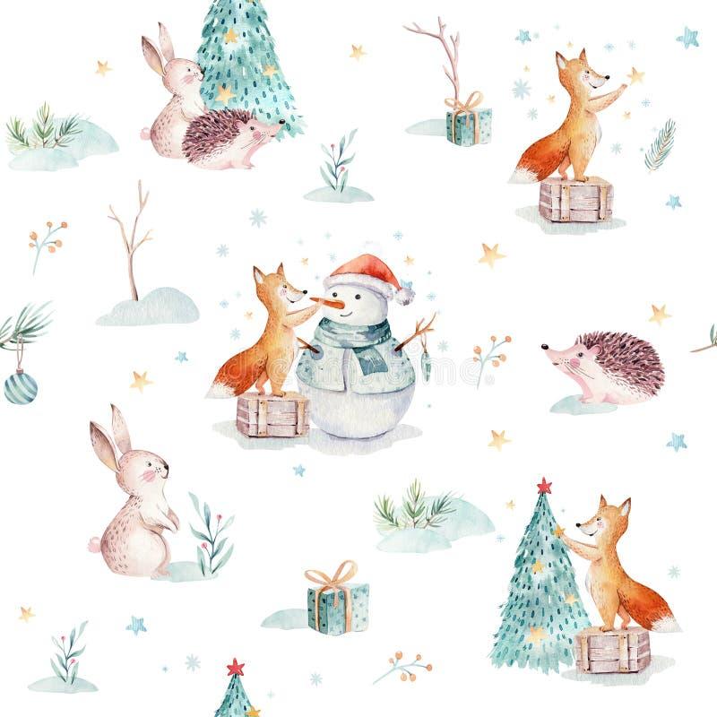 Картины веселого рождества акварели безшовные с подарком, снеговиком, животными праздника милыми хитрят, кролик и еж иллюстрация штока