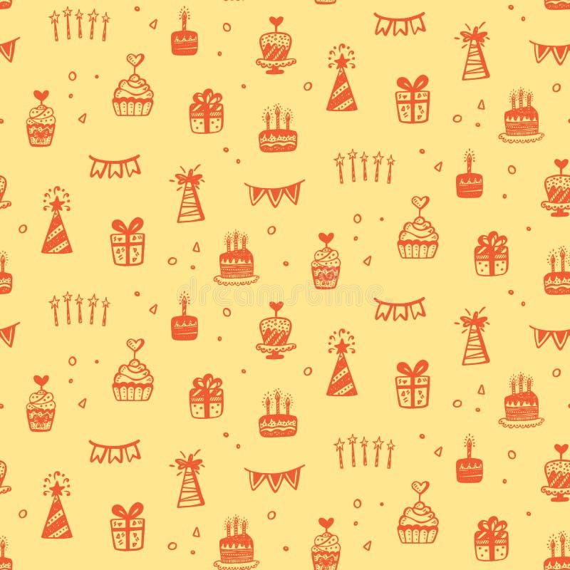 Картины вечеринки по случаю дня рождения безшовные с doodles нарисованными рукой иллюстрация штока