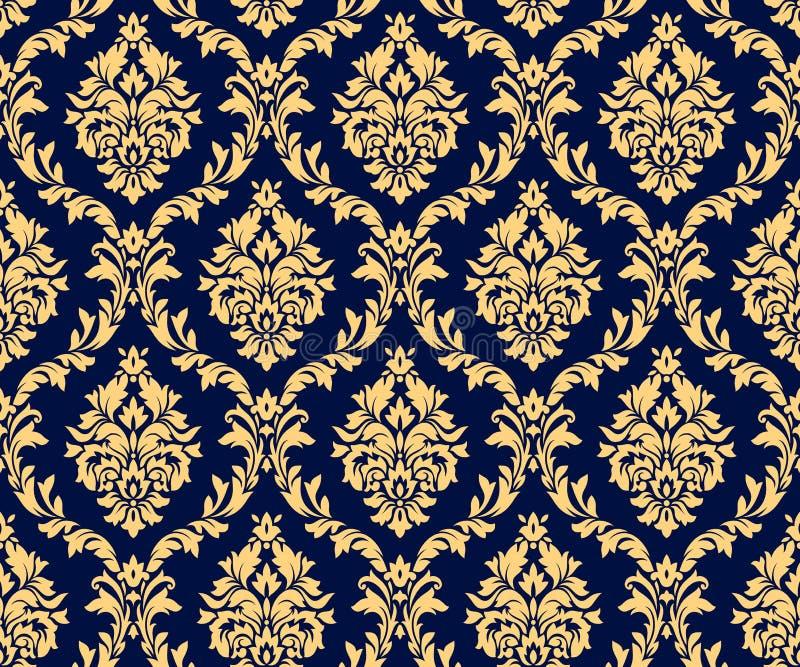 Картины золота штофа вектора безшовные Богатый орнамент, старая картина золота стиля Дамаска иллюстрация вектора