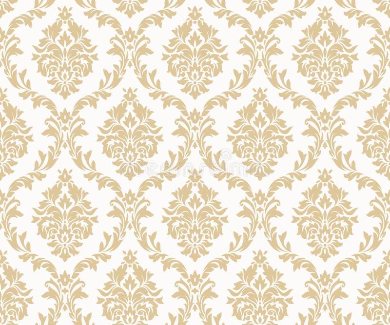 Картины золота штофа вектора безшовные Богатый орнамент, старая картина золота стиля Дамаска иллюстрация штока