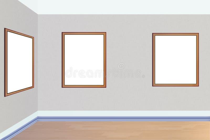 Картины искусства показывая природу осени висят на стене стоковое фото