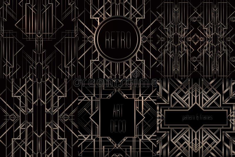 Картины и рамки стиля Арт Деко винтажные Задняя часть ретро партии геометрическая иллюстрация вектора
