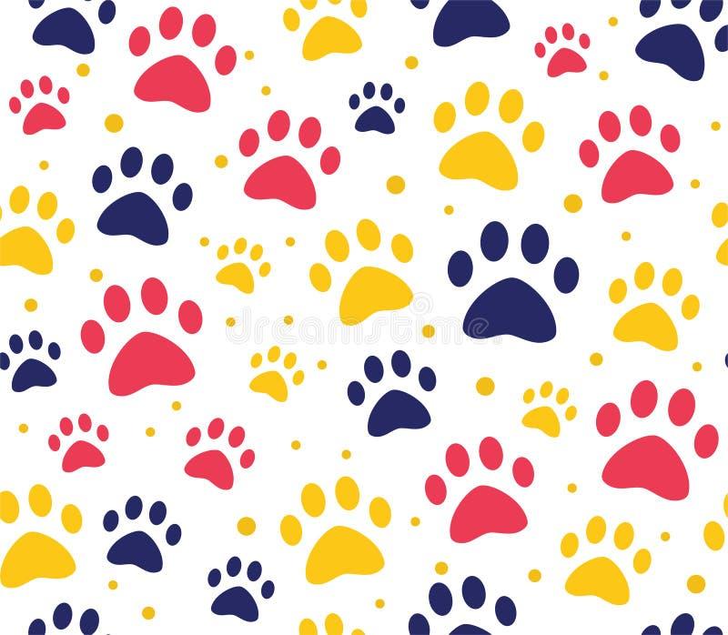 картины лапки кота или собаки безшовные предпосылки для вебсайтов и печатей зоомагазина Животный след ноги иллюстрация вектора