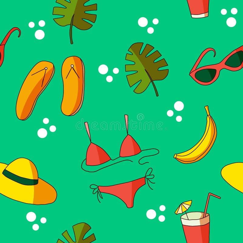 Картины лета, значок doodle лета с красным костюмом заплыва, оранжевая шляпа, листья monstera и бананы стиль мультфильма, плоско  иллюстрация штока