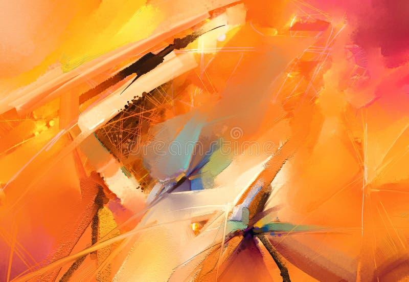 Картины маслом современного искусства с желтым, красным цветом Современное искусство для предпосылки иллюстрация вектора