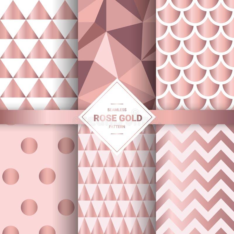 Картины металлического розового золота безшовные Геометрическое розовое backgr золота иллюстрация вектора