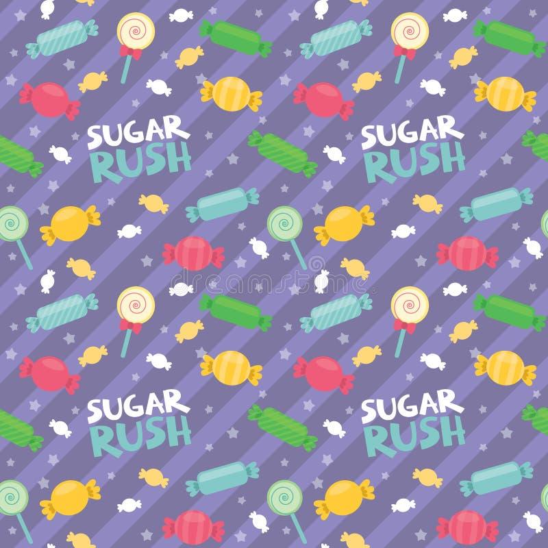 Картины нашивок попа Lolly конфеты текста спешкы сахара иллюстрация вектора раскосной милой красочной безшовной плоская бесплатная иллюстрация
